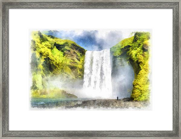 Skogafoss Waterfall Iceland Painting Aquarell Watercolor Framed Print