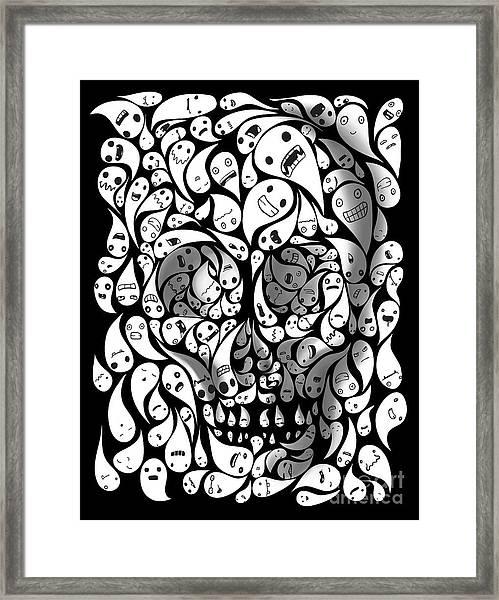Skull Doodle Framed Print