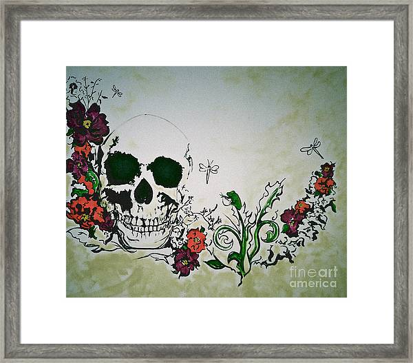 Skull Flower Mural Framed Print by Pete Maier