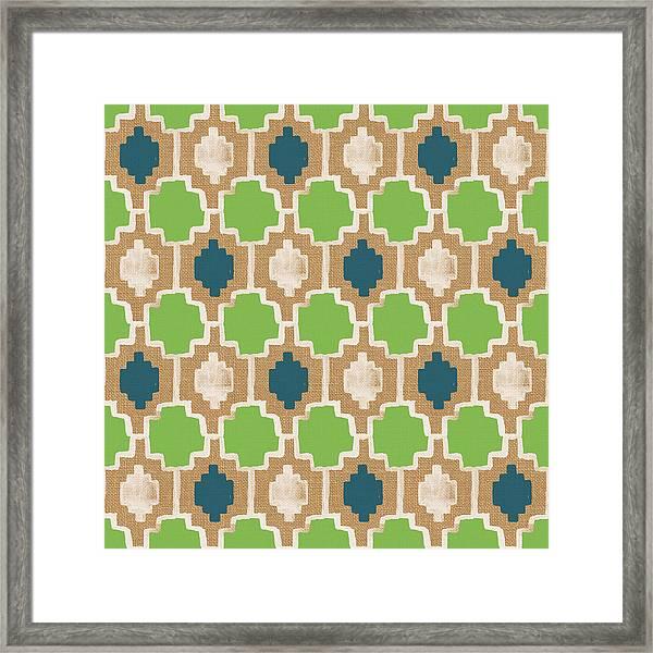 Sky And Sea Tile Pattern Framed Print