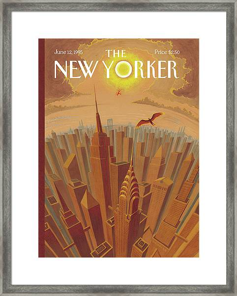Skyline Of Nyc At Sunset With Icarus Flying Close Framed Print