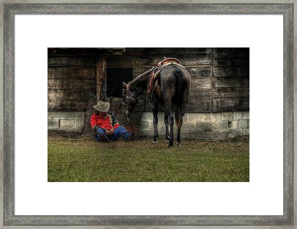 Sleeping Cowboy Framed Print