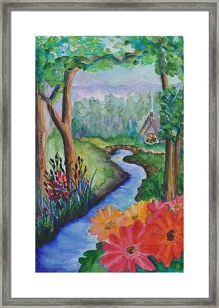 Sleepy Forest Cottage Framed Print