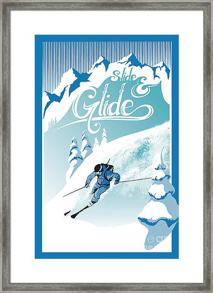 Slide And Glide Retro Ski Poster Framed Print