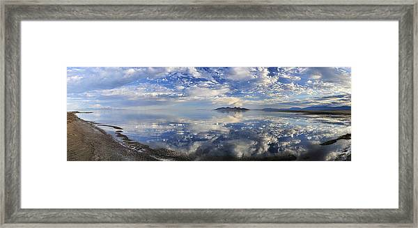 Slow Ripples Over The Shallow Waters Of The Great Salt Lake Framed Print by Sebastien Coursol