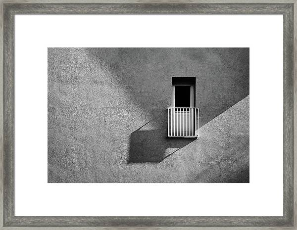 Small Balcony And Its Shadow Framed Print
