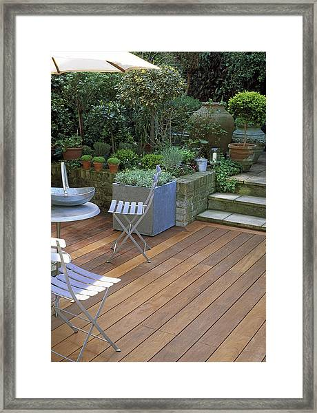 Small Town Garden With Decking Framed Print by Linda Burgess