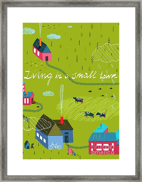 Small Town Or Village With Forest And Framed Print