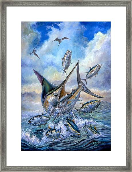 Small Tuna And Blue Marlin Jumping Framed Print