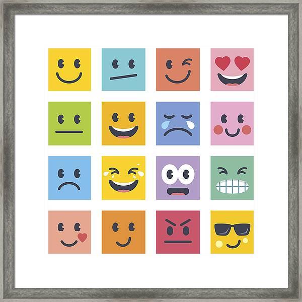 Smile Icons Framed Print by GoodGnom