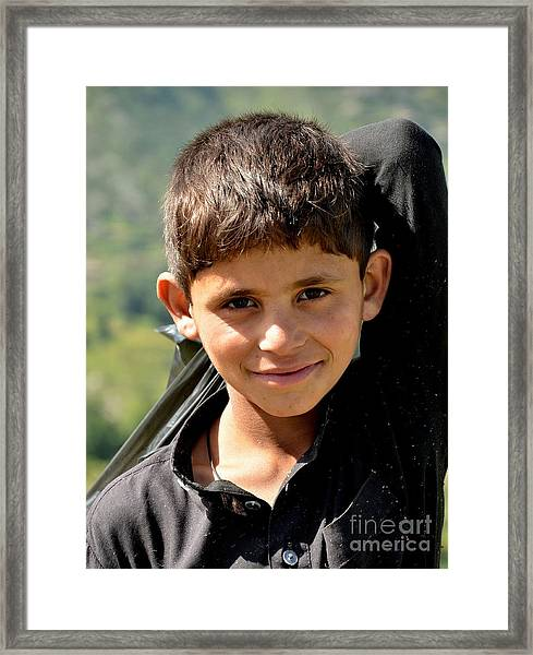 Smiling Boy In The Swat Valley - Pakistan Framed Print