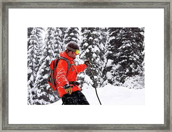 Smiling Male Skier On A Snowy Landscape Framed Print