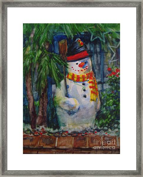 Smiling Snowman Framed Print