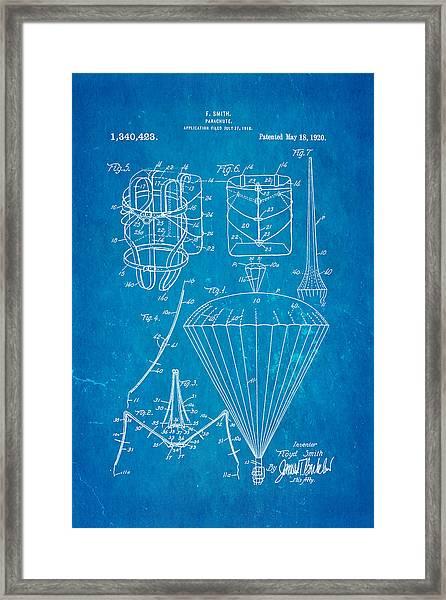 Smith Parachute Patent Art 1920 Blueprint Framed Print
