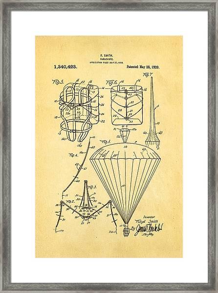 Smith Parachute Patent Art 1920 Framed Print