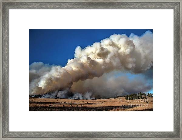 Smoke Column From The Norbeck Prescribed Fire. Framed Print