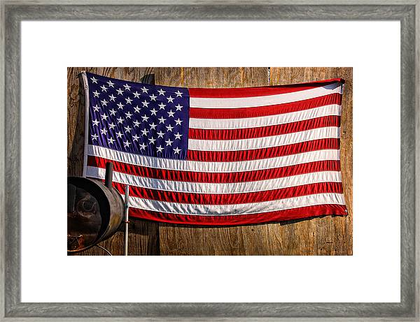 Framed Print featuring the photograph Smoker Flag by Steve Stanger