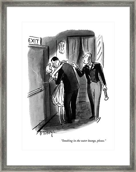 Smoking In The Outer Lounge Framed Print