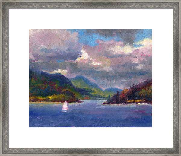 Smooth Sailing Sailboat On Alaska Inside Passage Framed Print