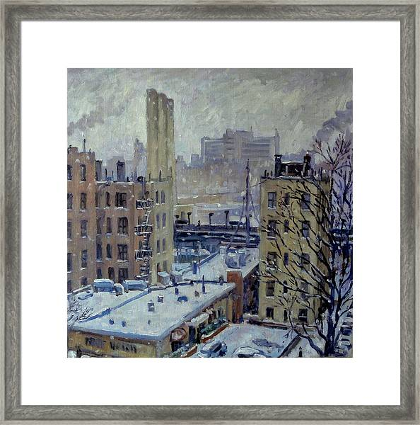 Snow At Dusk New York City Framed Print