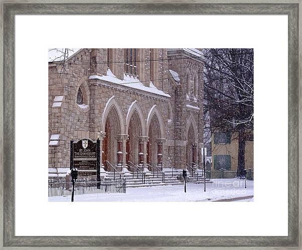 Snow At St. John's Framed Print
