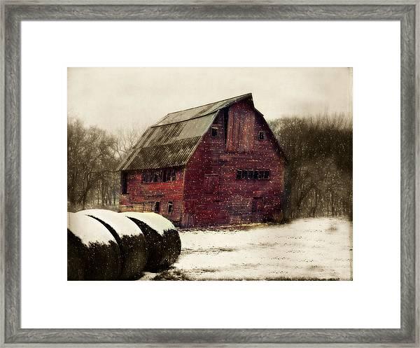 Snow Bales Framed Print