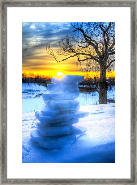 Snow Candle - Sunrise North Of Chicago 1-8-14 002  Framed Print by Michael  Bennett