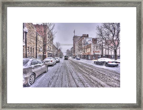 Snow Covered High Street And Cars In Morgantown Framed Print