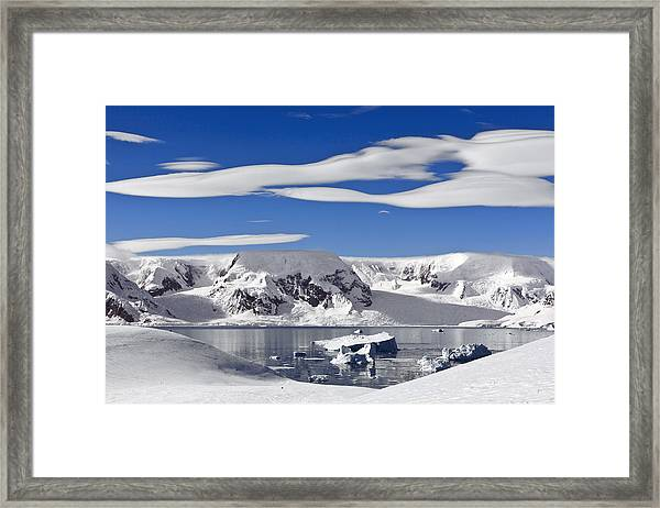 Snow-covered Mountains Antarctica Framed Print