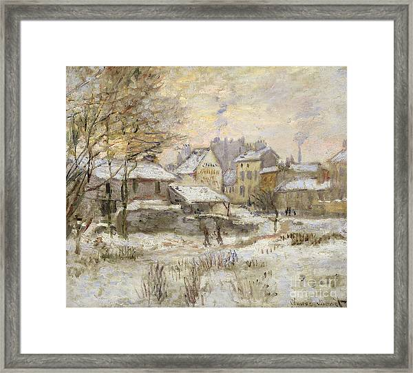 Snow Effect With Setting Sun Framed Print