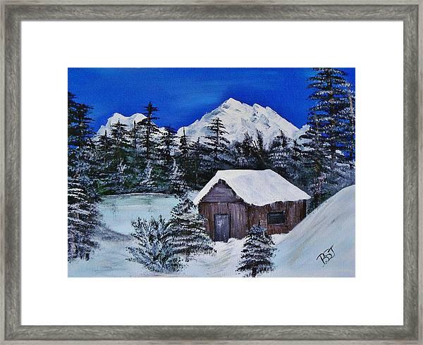 Snow Falling On Cedars Framed Print