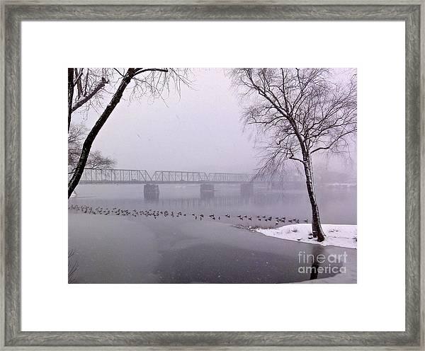 Snow From Lewis Island Bridge Framed Print
