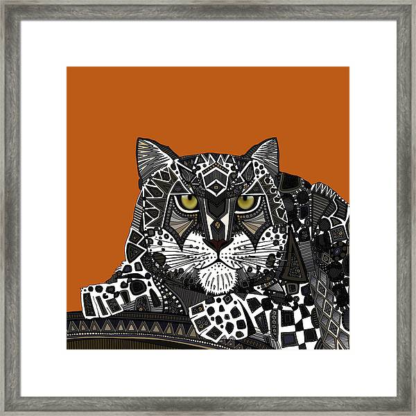 Snow Leopard Orange Framed Print