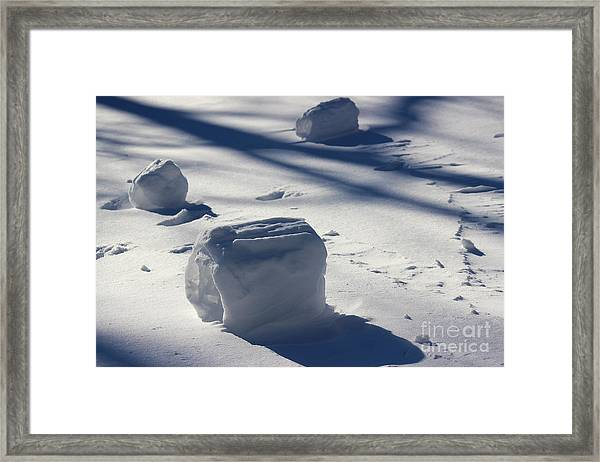 Snow Roller Trio In Shadows Framed Print