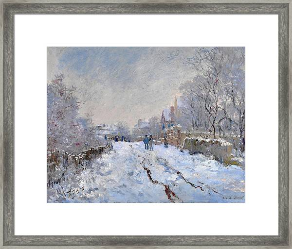 Framed Print featuring the painting Snow Scene At Argenteuil by Claude Monet