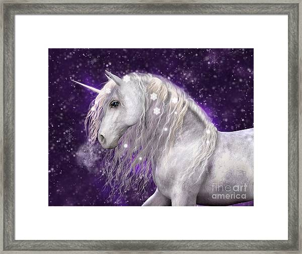 Snow Unicorn With Purple Background Framed Print