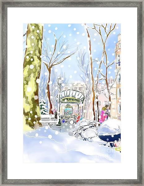 Snowing In Montmartre Framed Print