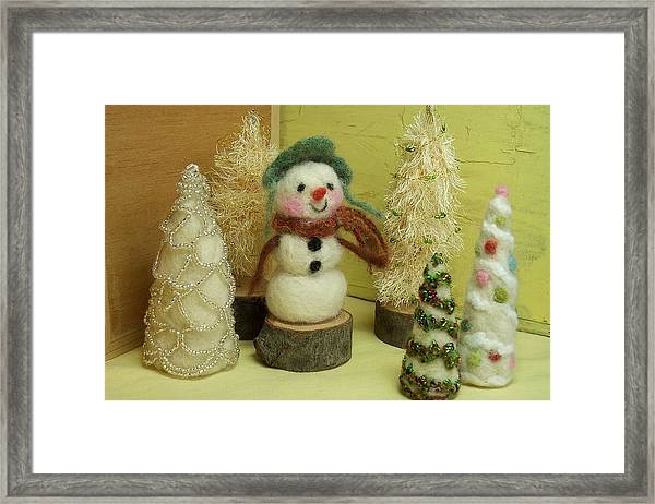 Snowman And Trees Holiday Framed Print