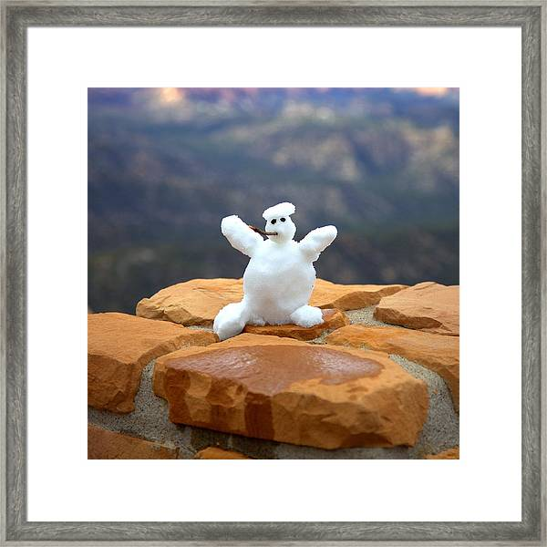 Snowman At Bryce - Square Framed Print