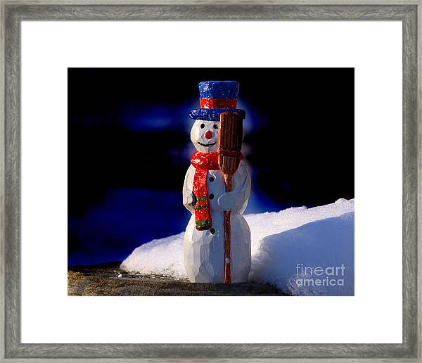 Snowman By George Wood Framed Print