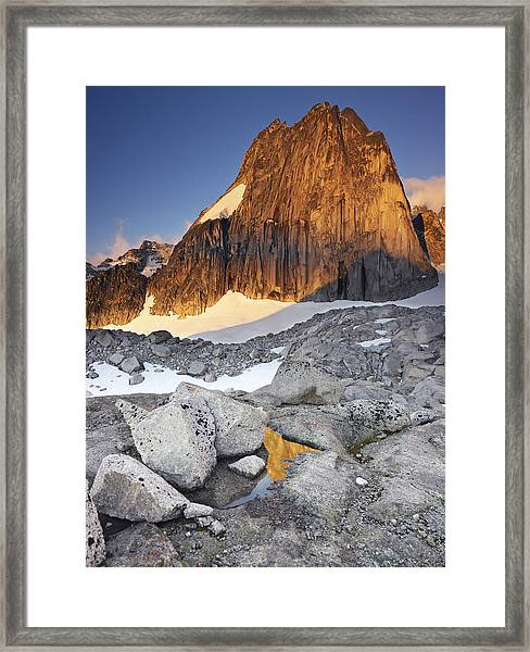 Snowpatch Spire At Sunrise Framed Print by Richard Berry