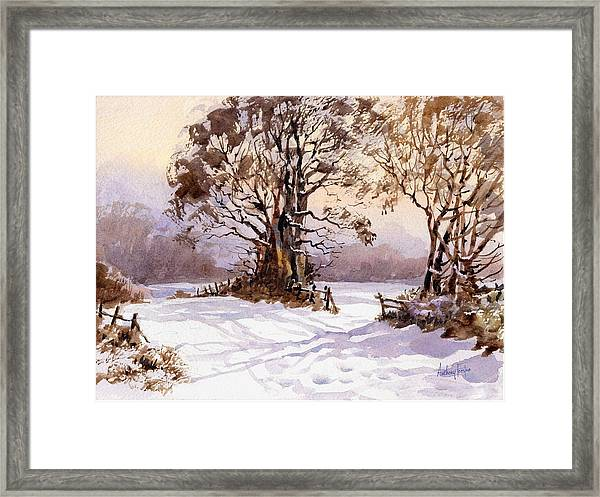 Snowscape With Trees Framed Print