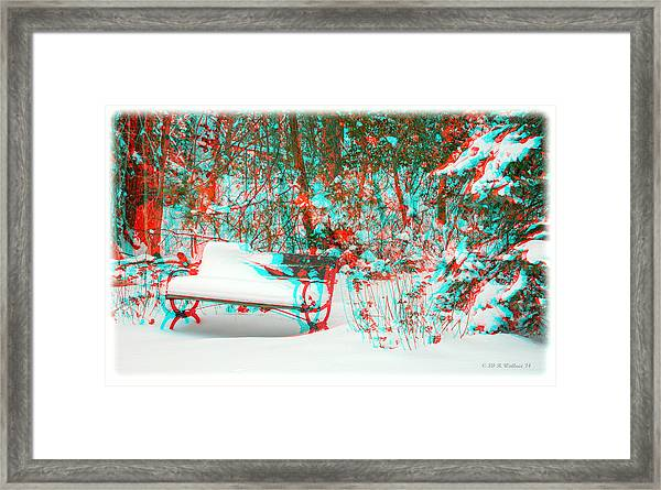 Snowy Bench - Use Red-cyan Filtered 3d Glasses Framed Print