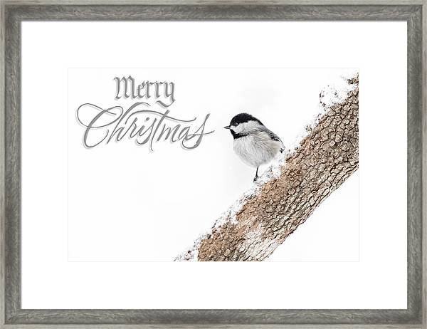 Snowy Chickadee Christmas Card Framed Print
