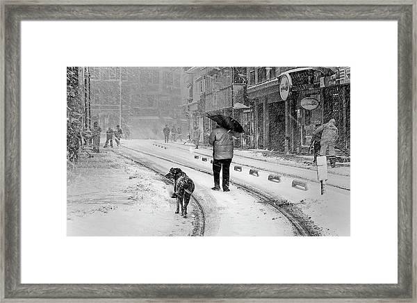 Snowy Day A?n A?stanbul Framed Print by Devrim ?nl?