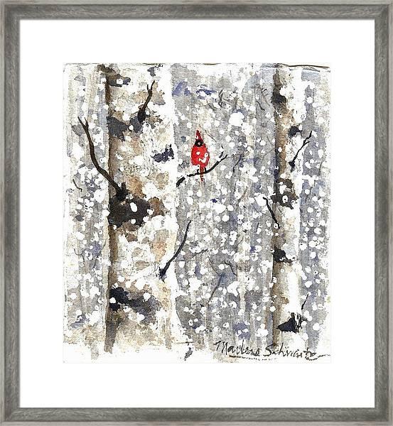 Snowy Hello Framed Print