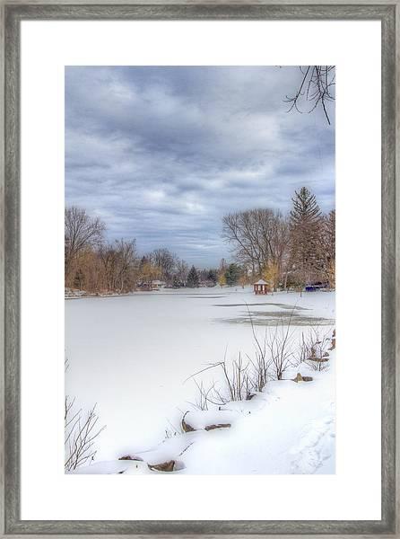 Snowy Lake Framed Print