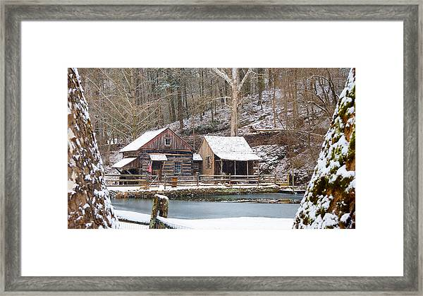 Framed Print featuring the photograph Snowy Morning In The Woods by William Jobes