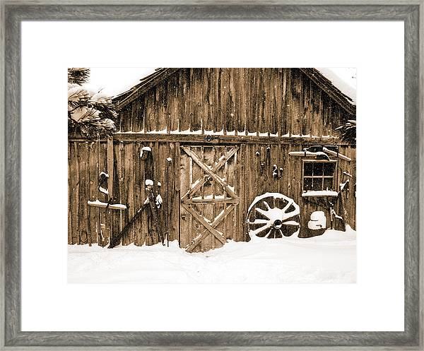 Snowy Old Barn Framed Print