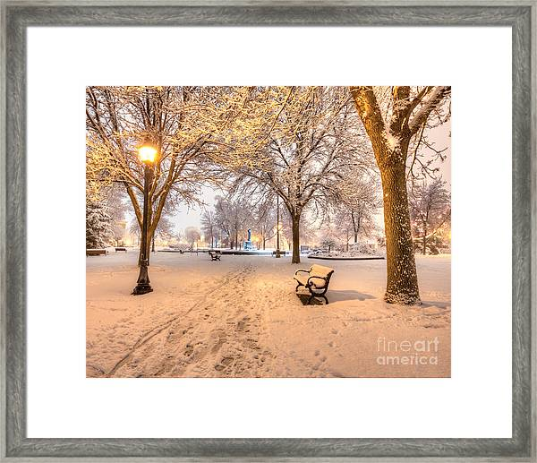 Framed Print featuring the photograph Snowy Path To Wenonah by Kari Yearous